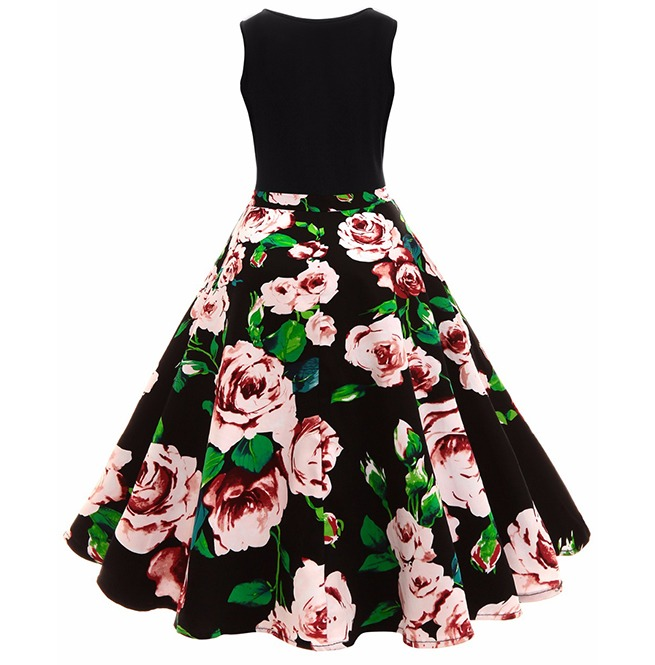 ea6cb65b5a0 Floral Print High Waist Retro Vintage Swing Party Dress