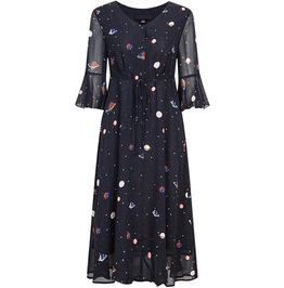 Lolita Goth Loose V Neck Dress Planets Galaxy Print Chiffon Dress