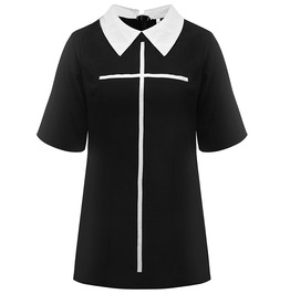 Cross Print Short Sleeve Punk Goth Black Mini Dress