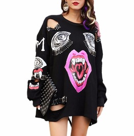 Pin Decoration Vampire Lips Hollow Out Sweatshirt Punk Harajuku Women
