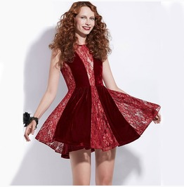 A Line Patchwork Lace Hollow Red Retro Goth Dress