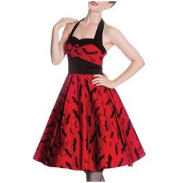 Bat Print Red Retro Rockabilly Betty Dress