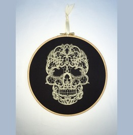 Cream Lace Embroidered Skull Wall Hanging Gothic Halloween