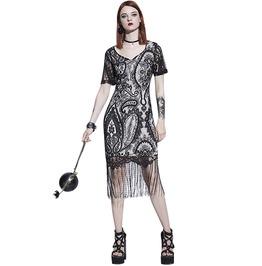 Tassel Lace Sheath Vintage Print Black Gothic Bodycon Dress