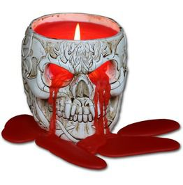Goth Skull Resin Candle Holder With Wax Candle