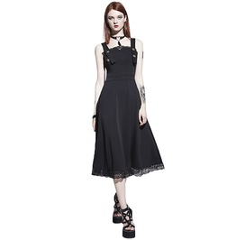 Black Patchwork Lace A Line Low Back Goth Dress
