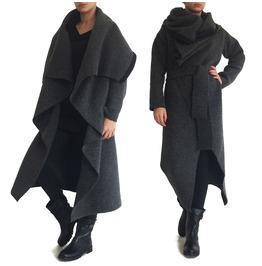 """Women Winter Coat Grey Coat Wool Coat Long Cardigan Long Coat """"Samurai"""""""