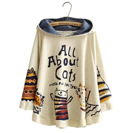 Autumn Winter Kawaii Harajuku All About Cats Loose Hooded Jacket