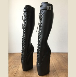 Rtbu Jason Ballet Wedge Laceup Knee Boot Hoof Strap Fetish Dominatrix Black