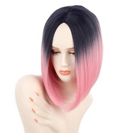 12 Inches Pink Silky Straight Short Bob Synthetic Hair Wig Women