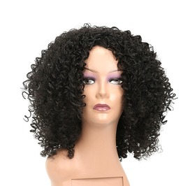 14 Inches Jet Black Afro Tight Kinky Curly Synthetic Hair Wig Women