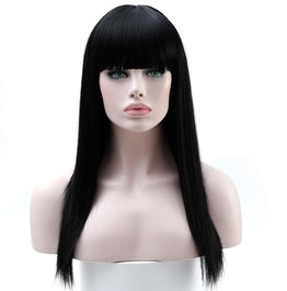 22 Inches Long Black Women Synthetic Hair Wig With Bangs