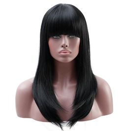 20 Inches Long Wavy Black Ombre Women Synthetic Hair Wig With Bangs