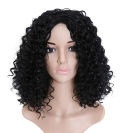 20 Inches Jet Black Afro Curly Synthetic Hair Wig Women