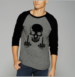 Skull F*** You Middle Finger Shirt Raglan Baseball 3/4 Sleeve Shirt Tee