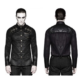 Gothic Steampunk Faux Leather Shirt Black Punk Mens Dieselpunk Top Jacket