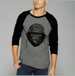 Gorilla Army Ape Monkey Shirt Raglan Baseball 3/4 Sleeve Shirt Tee Soldier