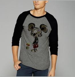 Bad Rad Mouse Shirt Raglan Baseball 3/4 Sleeve Shirt Tee Punk Wasted Dope