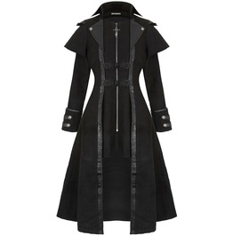 Women Hot Fashion Black Gothic Coat Punk Rock Long Military Style Jacket Ca