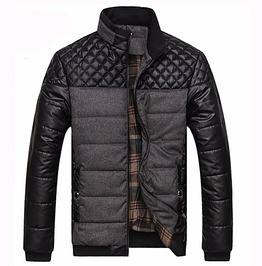 Pu Patchwork Quilted Jacket Winter Fashion Men Outerwear