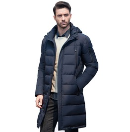 Long Thick Quilted Winter Coat Men Overcoat Outerwear Jacket