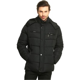 Thick Quilted Cotton Padded Hooded Winter Jacket Men