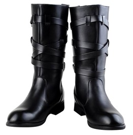 Round Toe Buckle Pu Leather Martin Motorcycle Boots Men