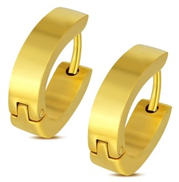 Gold Color Plated Stainless Steel Horseshoe Shape Hoop Huggie Earrings Pair