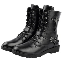 Rebelsmarket soft pu leather army military motorcycle zip ankle boots men boots 18