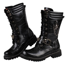 Army Military Combat Metal Buckle Pu Leather Motorcycle Punk Boots Men