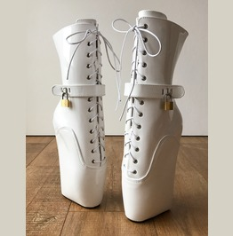 18cm Locky Beginner Lockable Ballet Wedge Boot Hoof Heelless Fetish White