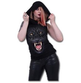 Tribal Panther Sleeveless Gothic Hood Biker/Cat/Fashion/Ladies