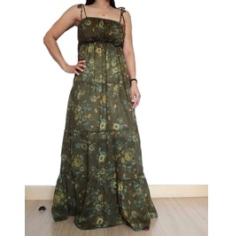 Green Floral Maxi Long Dress,Great Summer Wear, 100 % Cotton D012