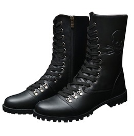 Punk Skull Imprint Lace Up Pu Leather Motorcycle Boots Men