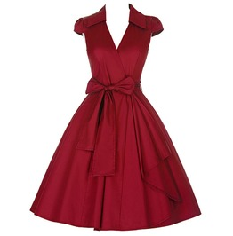 Solid Bow Belt V Neck 50s Vintage Swing Dress