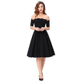 Off Shoulder 1950s 60s Retro Rockabilly Swing Party Dress