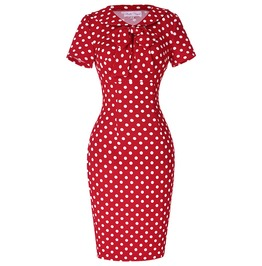Vintage 50s 60s Polka Dot Bow Doll Collar Pencil Sheath Dress