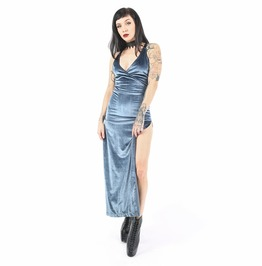 Iron Fist At Dusk Velvet Maxi Dress (Blue)