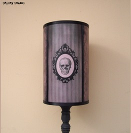 Gothic Skull Grey Striped And Damask Lamp Shade Lampshade