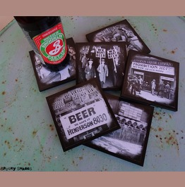 Prohibition Set Of 6 Black And White Coasters, Bar Decor, Beer Lover Gift