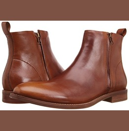 Men Chelsea Leather Boots, Men Brown Zipper Boots, Men Ankle Boots, Zipper