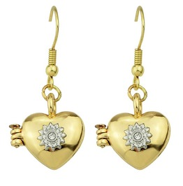 Lovely Rhinestone Vintage Gold Plated Open Heart Locker Hook Earrings