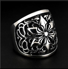 Large Star Arabesque Design Wide Band Ring ~ Sinister Silver ~ Sz 9.25