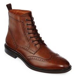 New Men Wingtip Brogue Lace Up Boots Men Brown Ankle Leather Boots For Men