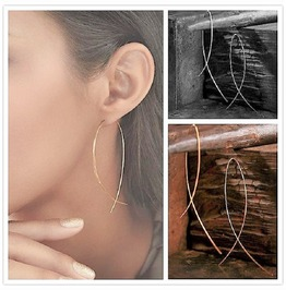 Punk Simple Metal Earrings Curved Line Long Wire Fish Shape Hook Earrings