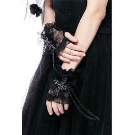 Agl001 Gothic Black Glove With Shining Cross And Chain