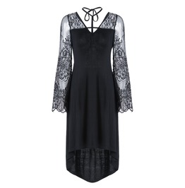 Dw130 Gothic Cross Front Modal Dress With Flower Sleeves And Back
