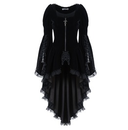 Jw104 Gothic Noble Velvet Pleated Cocktail Jacket Black Friday Wear