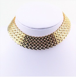 Elegant Edgy Mesh Thick Gold Wide Metal Adjustable Choker Collar Necklace