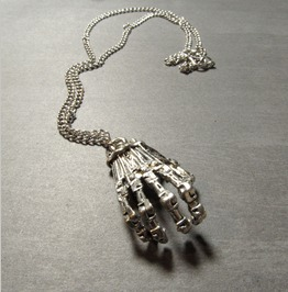 Skeleton Hand Pendant Silver Plated Chain Necklace